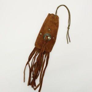 Vintage Suede Leather Fringe Medicine Pouch